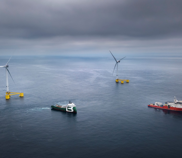 A vessel approaching an offshore wind turbine