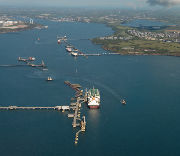An aerial photo of the Port of Milford Haven