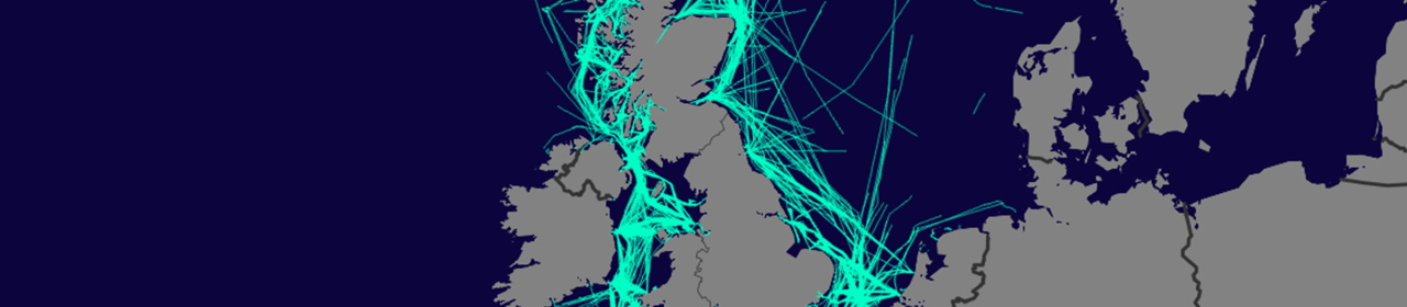 An AIS map of passenger vessel journeys across the UK