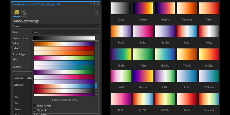 Perceptually uniform colour palettes in the ArcGIS Pro and QGIS software