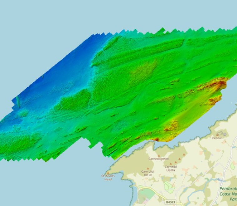 A bathymetric map of Pembrokeshire
