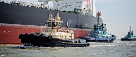 A photo of a tugboat