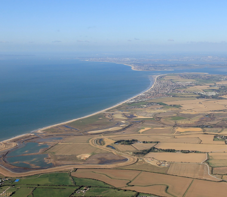An aerial photo of the Medmerry Coast