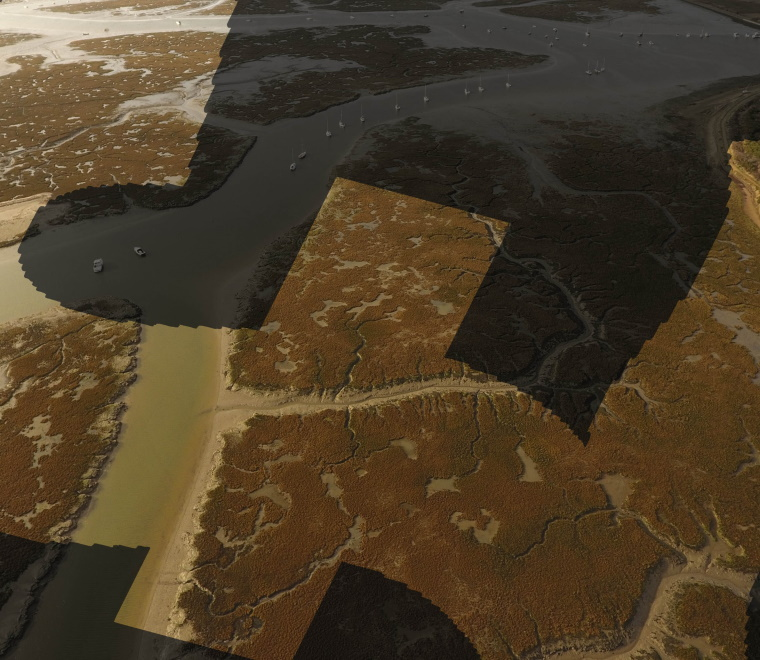 An aerial photo of Lymington Saltmarsh overlaid with a pound sign (£)