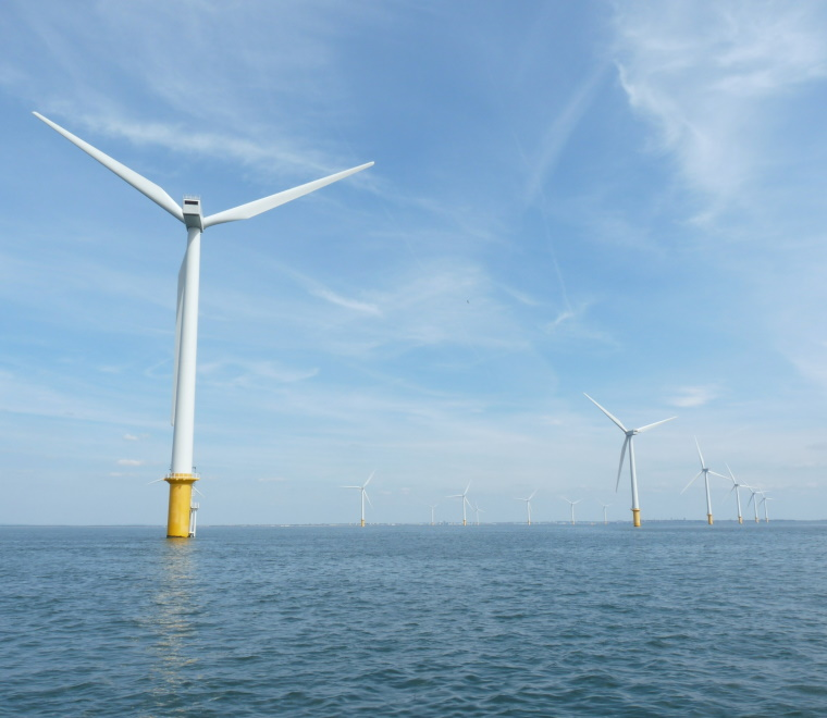 A photo of an offshore wind turbine