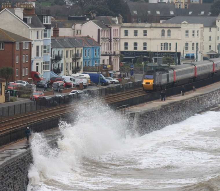 A photo of high tide against a sea wall at Dawlish