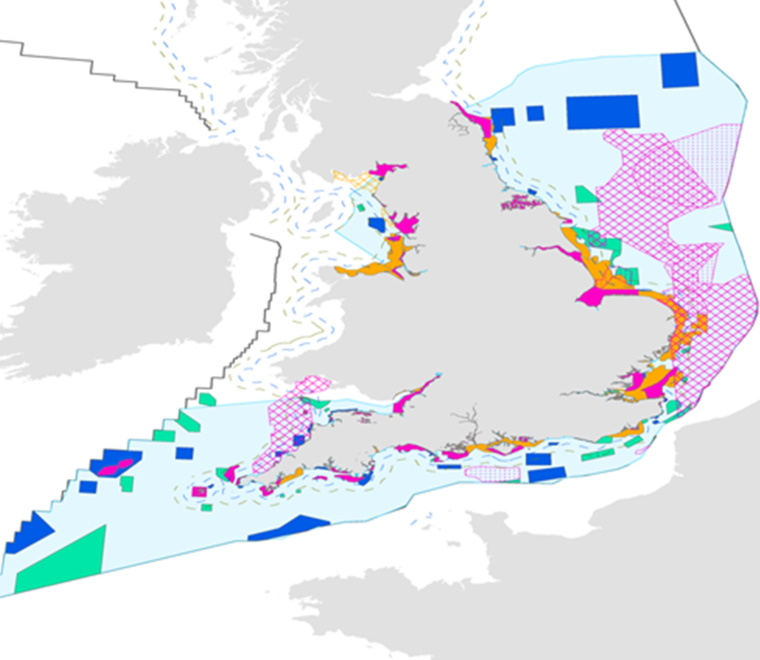 Fish displacement England map